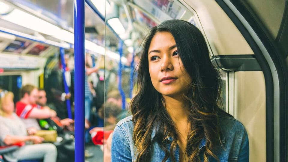 Young woman on the underground